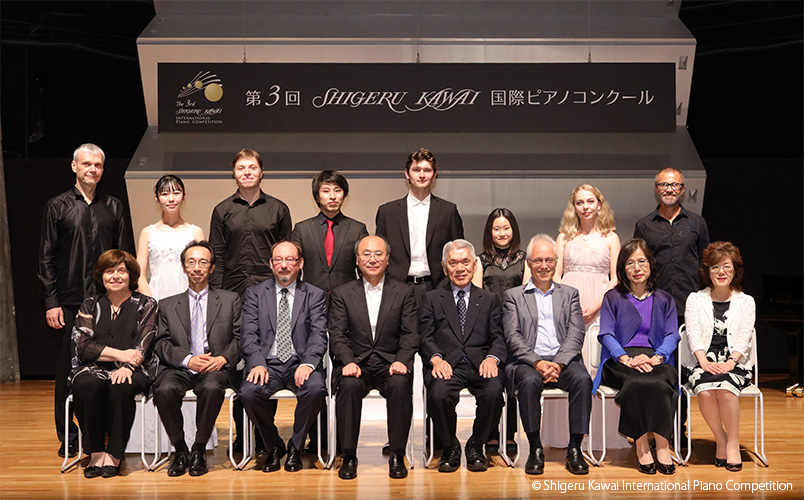 3rd Shigeru Kawai International Piano Competition prize winners winner with members of the jury.